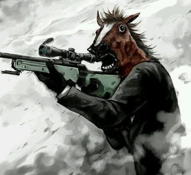 Man in horse mask shooting gun funny painted picture